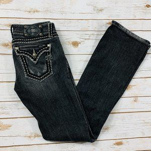 Miss Me Jeans Gray Black Distressed Bootcut 29